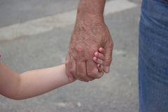 Young little girl holding hand Royalty Free Stock Photos