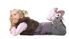 Young little girl layed Stock Photo