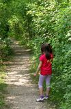 Young little GIRL lost in the Woods trail. Waiting for MOM royalty free stock images