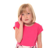 Young little girl in pain. And discomfort Stock Photography