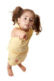 Young little girl pointing finger Royalty Free Stock Photos
