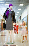 Young little girl in shopping mall Stock Images