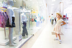 Young little girl in shopping mall Royalty Free Stock Photos