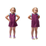 Young little girl standing over isolated white background. Young little girl with curly hair and arm on hips in purple dress standing over isolated white Stock Photography