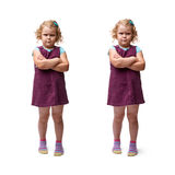 Young little girl standing over isolated white background Royalty Free Stock Image