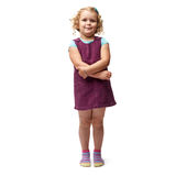 Young little girl standing over isolated white background Royalty Free Stock Photos
