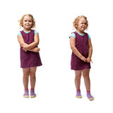 Young little girl standing over isolated white background Royalty Free Stock Photo