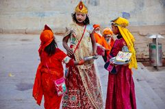 Young locals in Varanasi, India. Beautifully dressed young locals in Varanasi, India royalty free stock image