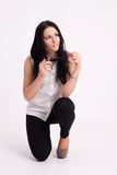 Young long-haired black-haired woman Royalty Free Stock Photos