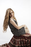 Young long-haired curly blonde woman Royalty Free Stock Photos