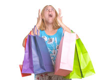 Young looking exclamation with shopping bags Stock Photos
