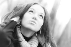 Young looking up woman portrait. High key colors Stock Images