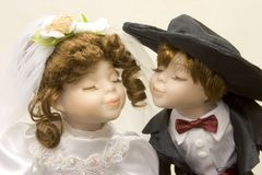 Young Love 1. Two dolls dressed up in handmade wedding attire Stock Photography