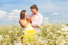Young love. Loving couple spends time outdoors Stock Photography