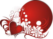 Young love. Red heart against a vegetative ornament of the young girl and a circle for the text Stock Photography