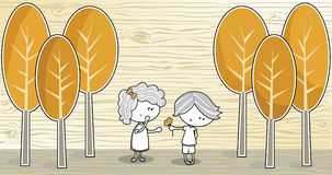 Young Love. A bashful little boy giving a little girl a flower in a nature scene Royalty Free Illustration
