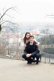 Young love couple in city Prague Stock Images