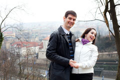 Young love couple in city Prague Royalty Free Stock Photo