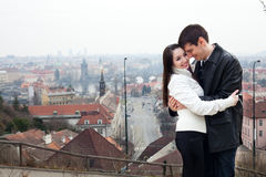 Young love couple in city Prague Royalty Free Stock Image
