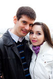 Young love couple in city Prague Royalty Free Stock Photos