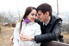 Young love couple in city Prague Royalty Free Stock Photography