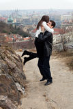 Young love couple in city Prague Stock Photography