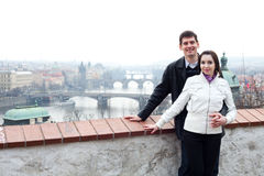 Young love couple in city Prague Stock Image