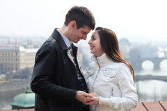 Young love couple in city Prague Stock Photo