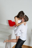 Young love couple happy together and red heart Royalty Free Stock Photo