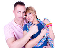 Young love couple have a romance. Over white background Royalty Free Stock Photography