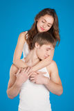 Young love couple holding each other in the studio Royalty Free Stock Image