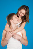 Young love couple holding each other in the studio Stock Photos