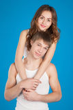 Young love couple  holding each other in the studio Stock Image