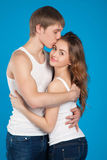 Young love couple  holding and kissing  each other in the studio Royalty Free Stock Photo