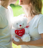 Young love couple holding valentine's bear Stock Photography