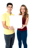Young love couple with pizza box royalty free stock image