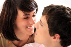 Young love couple smiling. stock photo