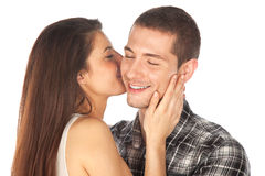 Lovely couple. Girl whispering her boy Stock Photo