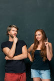 Young couple remembering and thinking about something Royalty Free Stock Photo