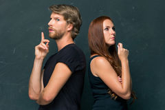Young couple remembering and thinking about something Stock Images