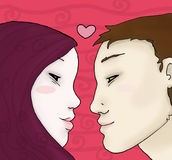 Young love sight. Romantic illustration of two lovers. Digital colors Stock Photography