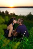 Young lovebirds in nature Royalty Free Stock Photos