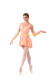 A young and lovelty ballet dancer holding a tape Stock Photo