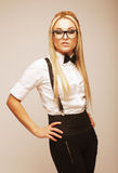 Young lovely blond woman with glasses Royalty Free Stock Image