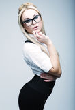 Young lovely blond woman with glasses Stock Image