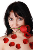 Young lovely brunette with a beautiful red rose Stock Images