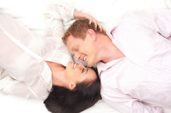 A young and lovely Caucasian brunette couple Stock Photos