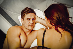 Young lovely couple in bed. Young lovely couple in bed, romantic time Royalty Free Stock Image