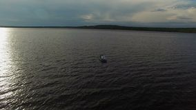 Young lovely couple boating aerial. Shot stock video footage