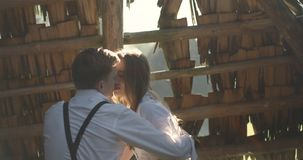 Young lovely couple in a Carpathian Mountains. Romantic dating or lovestory at sunny day. Atmospheric. 4K. stock video